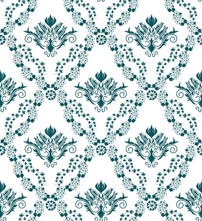 Damask seamless  pattern.  For easy making seamless pattern just drag all group into swatches bar, and use it for filling any contours. Stock Vector - 8464283
