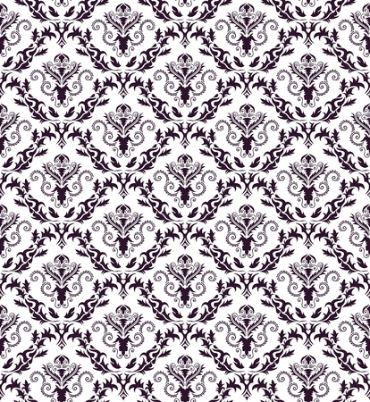 victorian textile: Damask seamless pattern.  For easy making seamless pattern just drag all group into swatches bar, and use it for filling any contours.