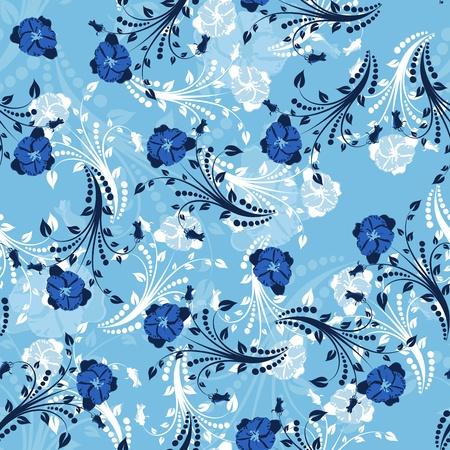Seamless  floral pattern. For easy making seamless pattern just drag all group into swatches bar, and use it for filling any contours. Stock Vector - 8464276
