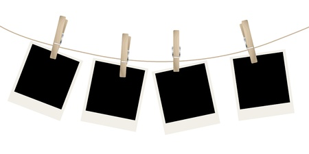 clothespins: Photo frames on the rope.  illustration.