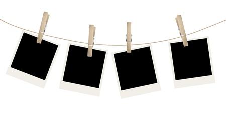 snapshots: Photo frames on the rope.  illustration.