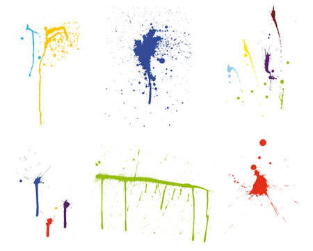 inkblots: Color grunge vector pattern set for design use.