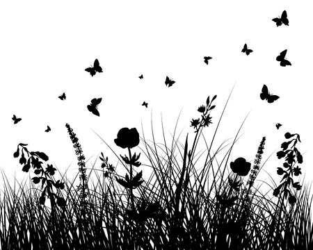 butterflies and flowers: grass silhouettes background. All objects are separated. Illustration