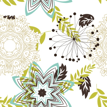 floral scroll: Seamless floral pattern. For easy making seamless pattern just drag all group into swatches bar, and use it for filling any contours.