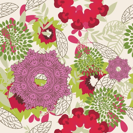 Seamless floral pattern. For easy making seamless pattern just drag all group into swatches bar, and use it for filling any contours. Stock Vector - 8711424