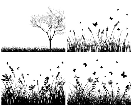 grass silhouettes background set. All objects are separated. Stock Vector - 8711417