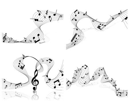 trill:   musical notes staff set for design use Illustration