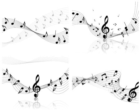 trills:  musical notes staff set for design use