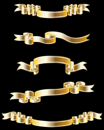 Set of different golden  ribbons for design use Vector