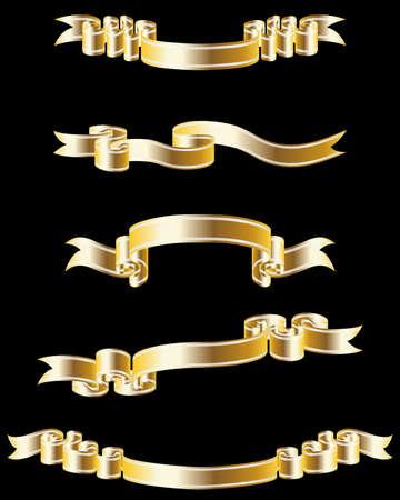 Satz von verschiedenen golden Ribbons für Design-Verwendung