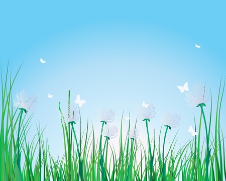 Vector grass silhouettes background. All objects are separated. Stock Vector - 8845785