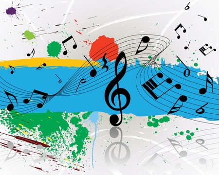 Vector musical notes staff on grunge background for design use Stock Vector - 8845807