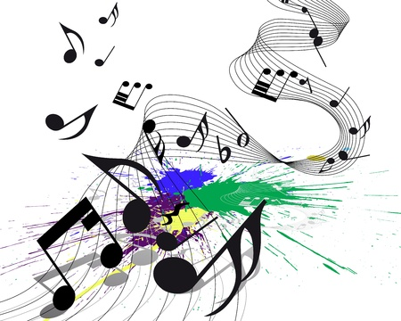 inkblots: Vector musical notes staff on grunge background for design use Illustration