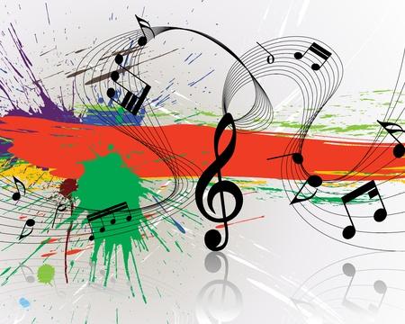 pentagrama musical: Utiliza personal de notas musicales de vector sobre fondo de grunge para dise�o Vectores