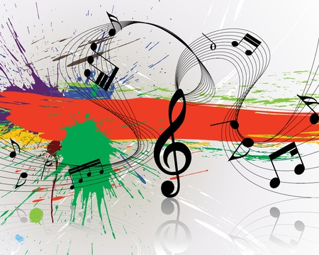 Vector musical notes staff on grunge background for design use Vector