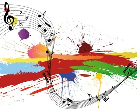 simbolos musicales: Personal de notas musicales de vector sobre fondo de grunge de diseño Vectores