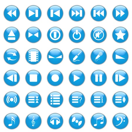 Collection of different icons for using in web design. Music. Vector