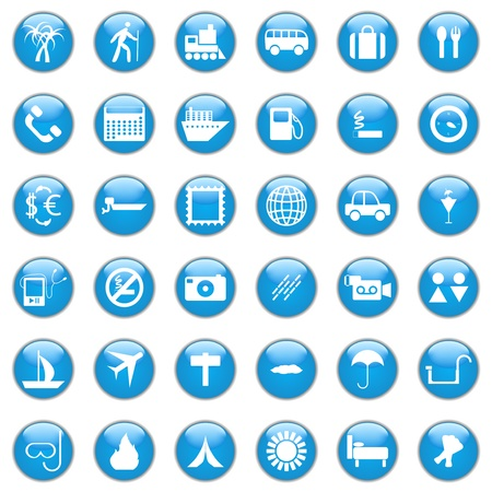 Collection of different icons for using in web design. Travel. Vector
