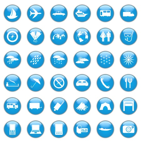 settings icon: Collection of different icons for using in web design. Travel. Illustration