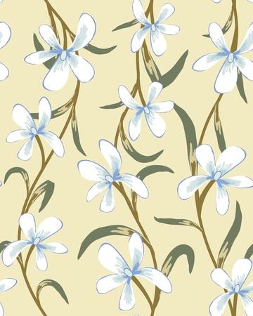 remplissage: Motif floral vectorielle continue. Facile pattern transparente prise juste faites glisser groupe tous les dans la barre de nuanciers et utilisez-le pour toute les contours de remplissage.