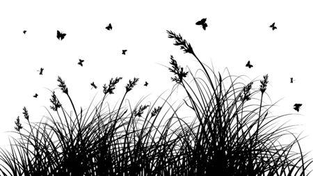 природа: Векторные трава силуэты фон. Все объекты разделены.