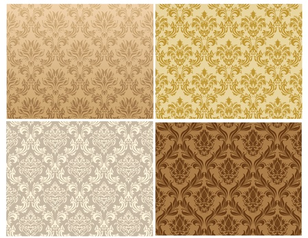 repeating pattern: Damask seamless pattern set.