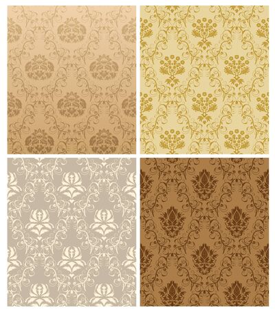 baroque pattern: Damask seamless pattern set.