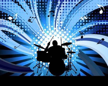 Rock group drummer.  Vector