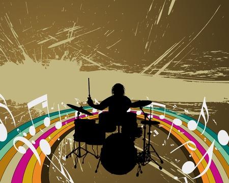Rock group drummer. Stock Vector - 8978370