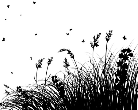 grassland: grass silhouettes background. All objects are separated. Illustration