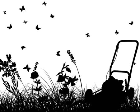 grass silhouettes with grass mower. All objects are separated. Vector