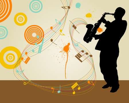 Jazz saxophonist retro theme. illustration for design use. Stock Vector - 8978390