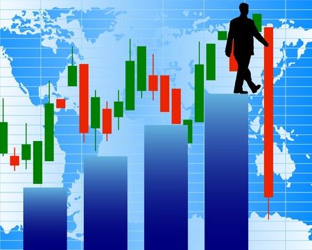 grafico vendite: Un passo a schiacciare. Illustrazione di stock astratta.