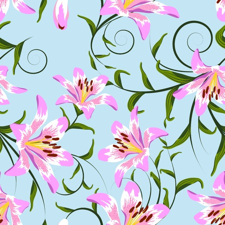 repeating pattern: Seamless vector floral pattern. For easy making seamless pattern just drag all group into swatches bar, and use it for filling any contours. Illustration