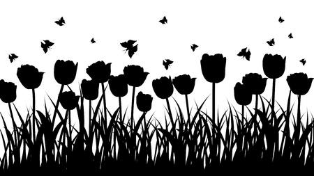 silhouette fleur: Arrière-plan vecteur silhouettes des graminées. Tous les objets sont séparés. Illustration