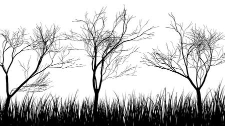 Vector gras silhouetten achtergrond. Alle objecten worden gescheiden.