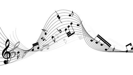 Vector muzikale stelt vast personeel achtergrond voor ontwerp gebruik