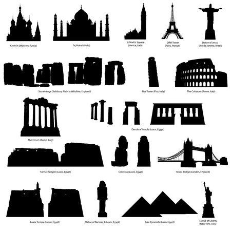 temple tower: High Detail landmarks silhouette set with descriprion of title and place. Vector illustration.