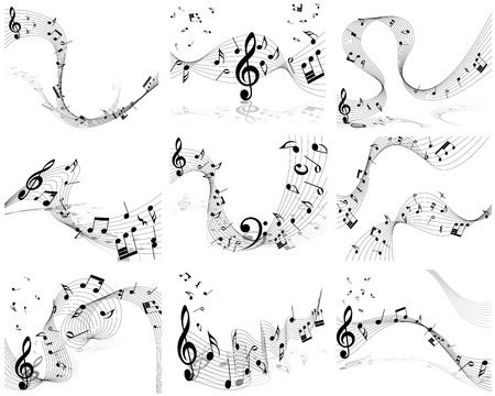 trills: Vector musical note staff background set for design use