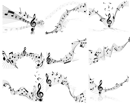 minims: Vector musical note staff background set for design use