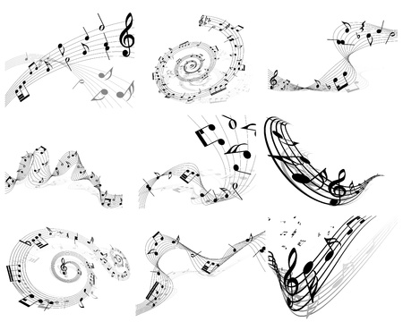notes music: Vector musical note staff background set for design use