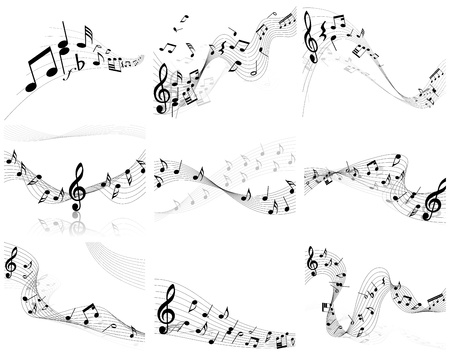 note musicali: Vector musical note staff background set for design use
