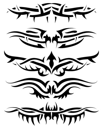 Patterns of tribal tattoo for design use. Vector illustration. Vector