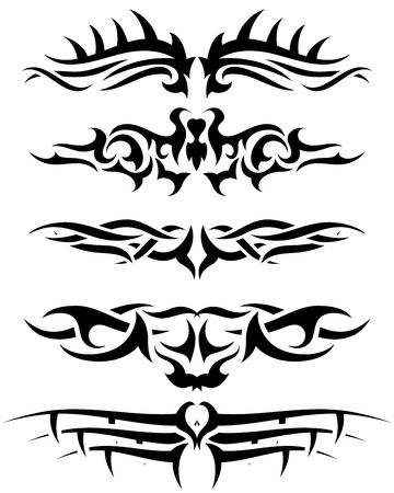 Patterns of tribal tattoo for design use. Vector illustration. Stock Vector - 9105368