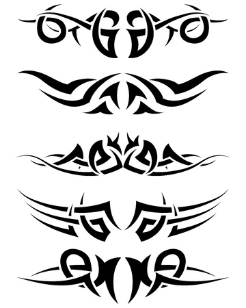 dingbat: Patterns of tribal tattoo for design use. Vector illustration.