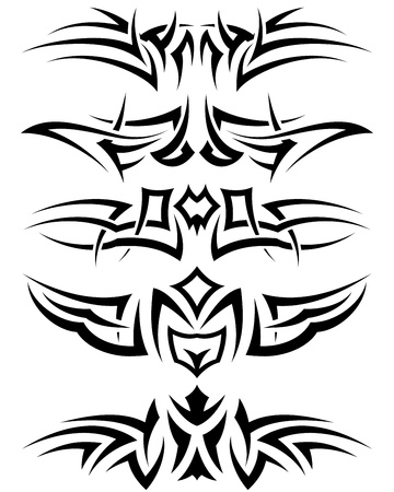 Patterns of tribal tattoo for design use. Vector illustration. Stock Vector - 9105369