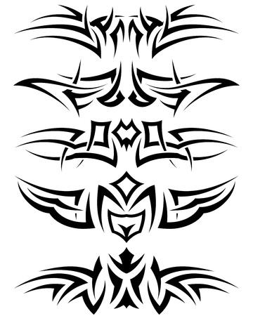 dessin tribal: Utilisent des patrons de tatouage tribal pour la conception. Illustration vectorielle.