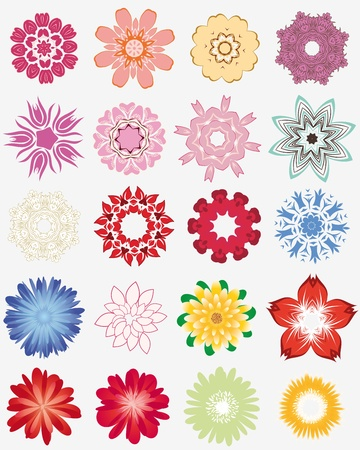 Set of different flower and leaves for self-supporting making floral ornate. Stock Vector - 9147923