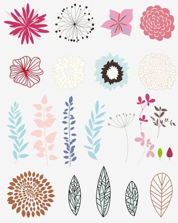 silueta hoja: Conjunto de diferentes flores y hojas para hacer autosuficiente floral ornamentado. Vectores