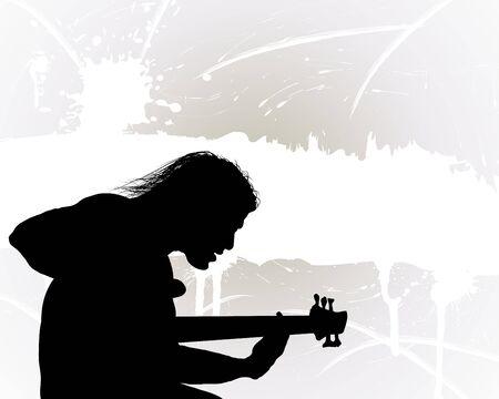 guitarristas: Guitarrista del grupo de rock. Ilustraci�n vectorial para uso de dise�o.